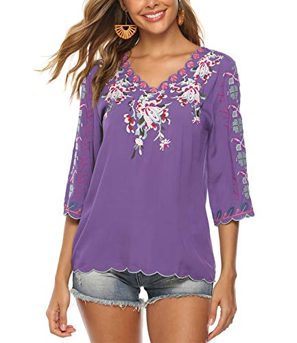 Mansy Women's Embroidery Mexican Bohemian Shirt Short Sleeve Ruffled Peasant Cotton Tops Tunic Blouses Purple