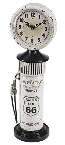Ganz Route US 66 Antique Gas Pump Vintage White 4.75 x 14.75 Metal Desk (Route 66 Metal Clock)