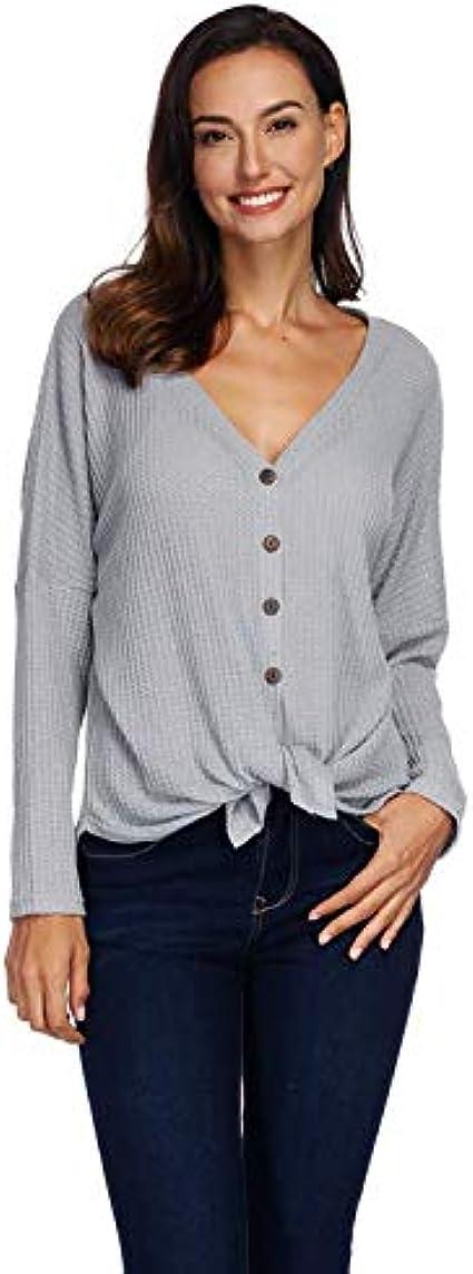 Camisa Henley De Manga Larga con Cuello En V para Mujer ...