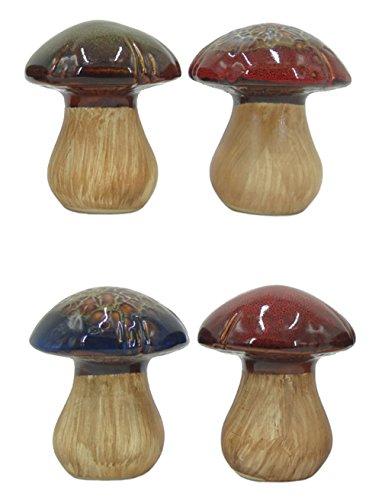 Ceramic Mushroom Décor Figurine Pottery Ornament for Fairy Garden House Lawn (Set of 4) (Leopard Porcelain Figurine)