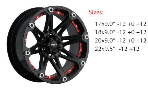 Ballistic 814 Jester 17x9.0 Flat Black Wheel with Red Inserts 6x139.7mm Bolt Pattern / +12mm Offset / 110mm Hub Bore - Ballistic Jester Wheel