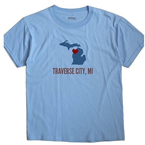 Traverse City Michigan MI HEART GreatCitees Unisex Souvenir T - Mi Women's Traverse Clothing City