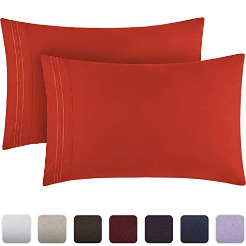 Mellanni Luxury Pillowcase Set - Brushed Microfiber 1800 Bedding - Wrinkle, Fade, Stain Resistant - Hypoallergenic (Set of 2 Standard Size, Red)