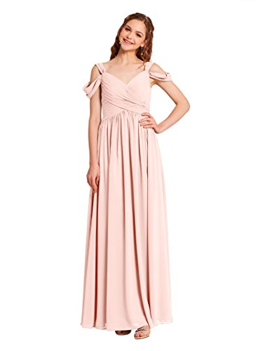 Alicepub Pleated Chiffon Maxi Bridesmaid Dress Long Formal Event Dress for Party, Pearl Pink, US8