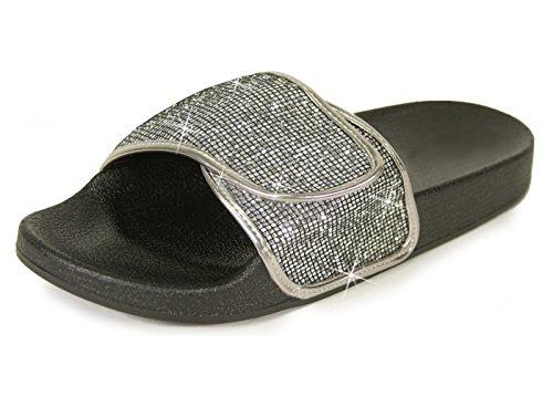 Glid Sandaler För Kvinnor, Kvinnor Ecladea Bekväma [vattentät] Mode Slip-on Glid Sandaler [platta Tofflor] Justerbar Vristrem Med Krok-och-ögle-förslutning [70057], Tenn Glitter Storlek 7 [oss Storlek]