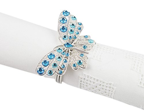 - Fennco Styles Jeweled Design Metal Napkin Ring - Set of 4 (Butterfly)