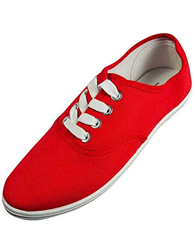 Easy USA - Womens Canvas Lace Up Shoe with Padded Insole, Red 37308-10B(M) US