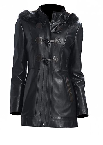 Long Black Ladies Leather Coat - 7