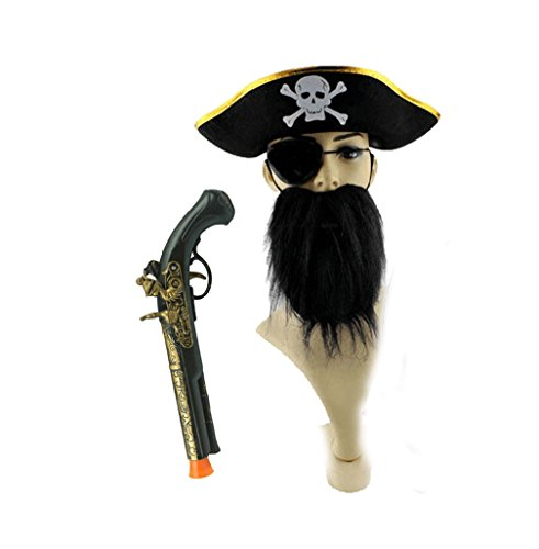 Costumes That Need A Beard (Cosplay pirate costume set of 4pc hat fake beard eyepatch gun)