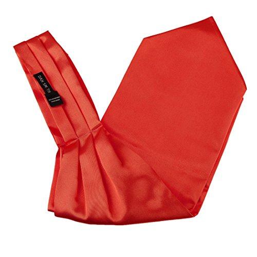 Dan Smith DRA7E01L Mens Red Solid Mens Polyster Ascot Fantastic Gentlemen Love Series Cravat for -