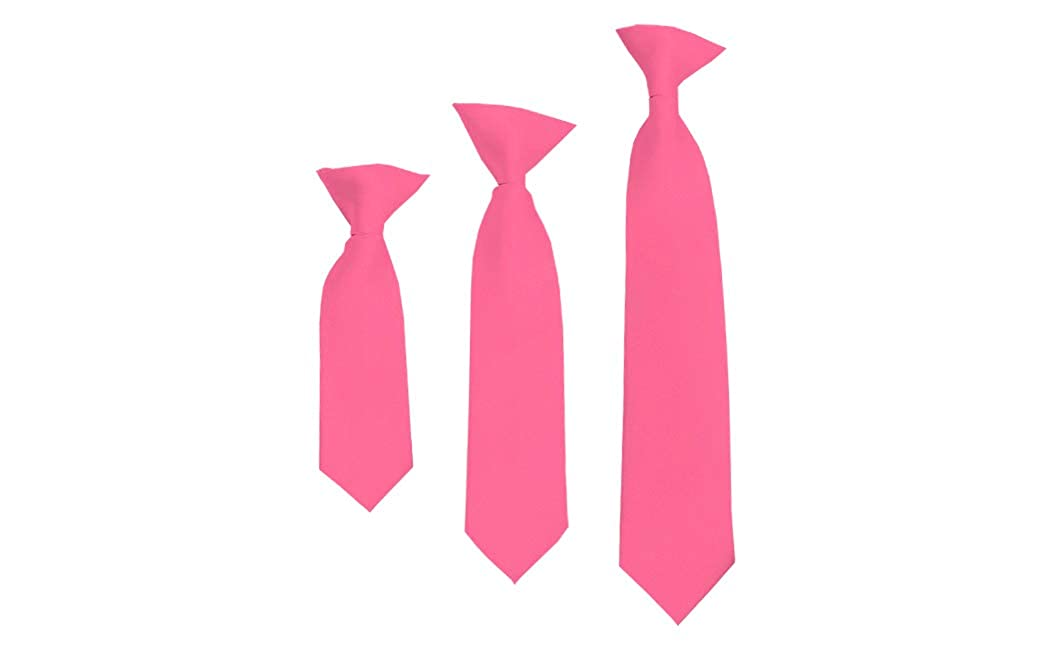 Solid Hot Pink Boys 11 Clip On Tie