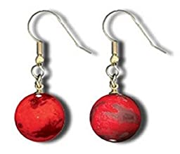 Shasta Visions Planet Mars Earrings-Wearable Art Glass Marbles with 22kt Gold Filled Findings and .5 Inch Diameter Glass Orbs