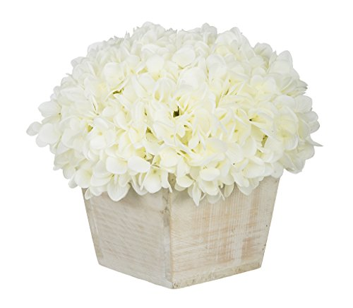 Hydrangea Centerpiece (House of Silk Flowers Artificial Hydrangea in White-Washed Wood Cube (White))