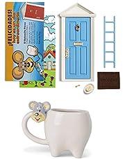 Ratoncito Pérez Puerta mágica Azul + Taza Infantil niño + Escalera + Plato + Queso + Felpudo + Llave + Dibujo Fondo de Puerta + Postal de felicitación para Pintar Las Fechas de los Dientes caídos