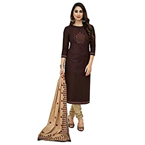 Miraan Women's Cotton Unstitched Dress Material (SGPRI1505, Brown, Free Size)