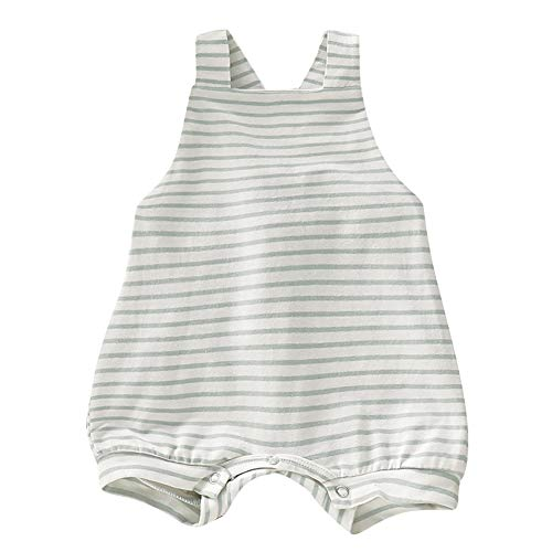 Pudcoco Newborn Baby Boys Girls Striped Straps Overall Shorts Cross Back Romper Bodysuit (12-18M, Beige Stripe)