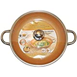 Copper Frying Pan 14-Inch With Tempered Glass Lid Non Stick Ceramic Infused Titanium Steel