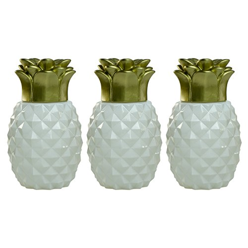 Outdoor Table Top Torch - TIKI Brand Pineapple Glass Table Torch, White (Set of 3)