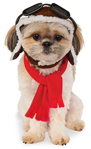 Hat Pet Costume - Pet Aviator Hat and Scarf Set, Small/Medium