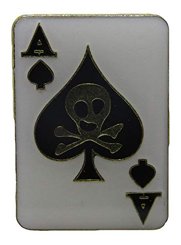 (ALBATROS Pack of 6 Ace of Spades Skull Card Hat Cap Lapel Pin for Home and Parades, Official Party, All Weather Indoors Outdoors)
