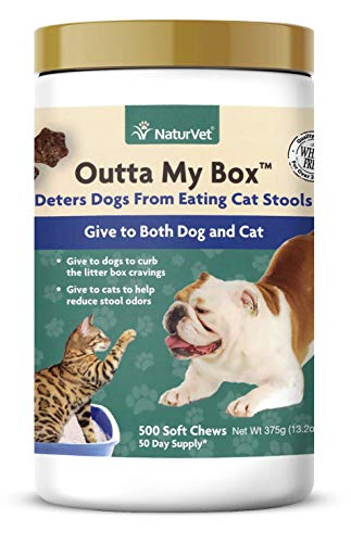 NaturVet - Outta My Box - 500 Soft Chews - Deters Dogs from Eating Cat Stools - Reduces Cat Stool Odors - for Dogs & Cats - 50 Day Supply (Best Way To Stop Dog From Eating Poop)