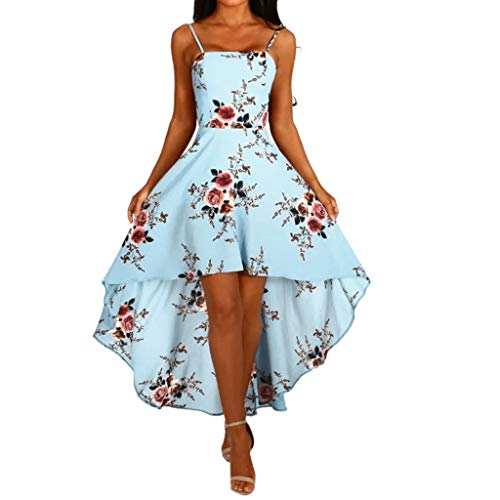 TOTOD Boho Women Holiday Strappy Floral Print Dress Beach Swing Irregular Tuxed Sundress Blue