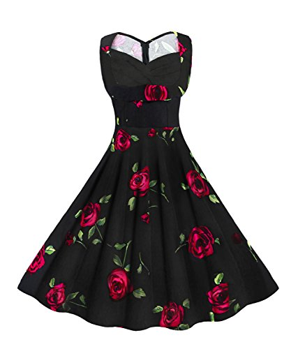 Killreal Women's 1950's Sweetheart Rose Vintage Floral Casual Party Cocktail Dress Plus Size Black/Red 2X-Large