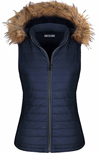2LUV Women's Quilted Flax Fur Hooded Vest Padded Fleece Jacket With Zip Closure Navy (Down Vest Fur Hood)