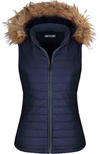 2LUV Women's Quilted Flax Fur Hooded Vest Padded Fleece Jacket With Zip Closure Navy (Down Vest Fur Hood)