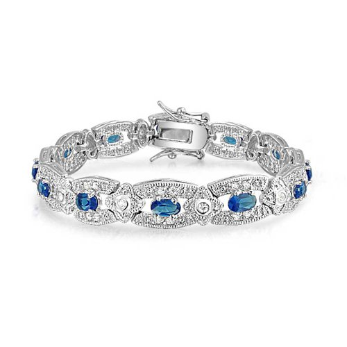 Christmas-Gifts-Bling-Jewelry-Blue-CZ-Antique-Style-Bracelet-Rhodium-Plated