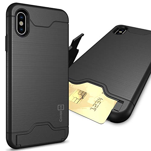 CoverON SecureCard Series iPhone Xs Max Case with Card Holder Slot and Kickstand for iPhone Xs Max (6.5) - Black