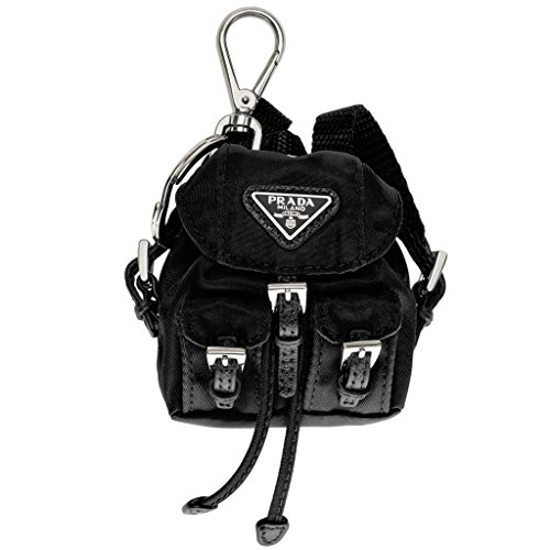 Prada Women's Mini Vela Backpack Key Ring Black by Prada