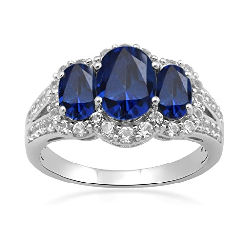 Jewelili Sterling Silver 8x6mm Created Ceylon Sapphire Oval with Round Created White Sapphire Ring, Size 7 ()