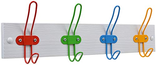 Childrens Coat Rack - Tibres - Kids Coat Hook Rack for Boys and Girls for Jackets Clothes Hats Backpacks Robes and Towels - Kids Hanger for Use in Nursery Bedroom and Bathroom - Safe Colorful Wire Hooks and White Rail