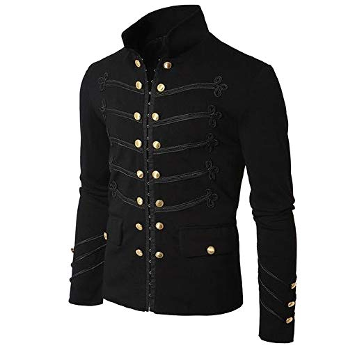 Fitfulvan, Men's Coat Jacket Gothic Embroider Button Coat Uniform Costume Praty Outwear