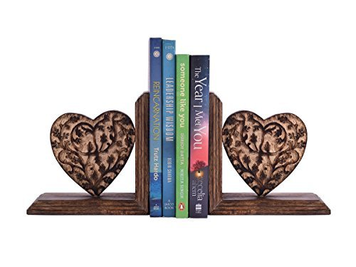 Mothers Day Gift Decorative Book Ends Rack Display Stand Holder Organizer Hand Carved Wooden Heart Shaped Bookend Pair Bookshelf Home Office Children Kid Room Decor