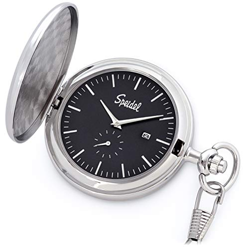 Date Silver Pocket Watch - Speidel Classic Brushed Engravable Pocket Watch with 14