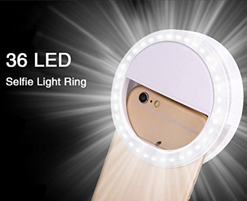 OCHO LED Sefie Ring Light Lighting Clip with 36 LED 3 Level Dimmable Universal Design for Smart Phone Tablet iPhone 7 7 Plus 6 6S Plus iPad mini 4 Pro and more (White)