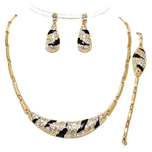 - Christina Collection 3 Pcs Elegant Luxury Gold Black Crystal Zebra Wild Print Necklace Bracelet Earrings Set