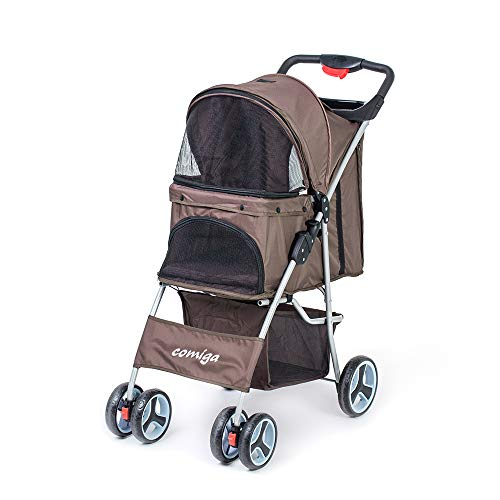 Comiga Pet Stroller, 4-Wheel Cat Stroller, Foldable Dog Stroller with Removable Liner and Storage Basket, for Small-Medium Pet,Coffee