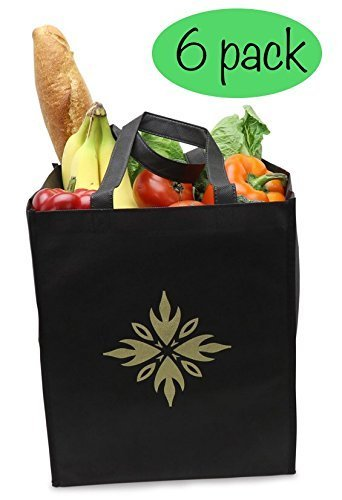 Reusable Grocery Shopping Bags ( 6 pack, Black) Large, High Quality Grocery Tote Bags with Reinforced Handles, Super Strong, Heavy Duty. Foldable for Easy storage - Environmentally (Reusable Recyclable Tote Bag)