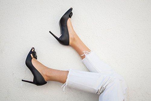 JENN ARDOR Women's High Heels Ladies Pointed Toe Stilettos Court Shoes Size 3.5-8 Black IjzeP