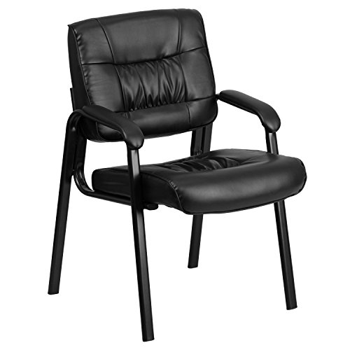 Flash Furniture Black Leather Executive Side Reception Chair with Black Metal Frame