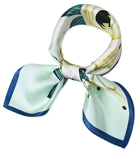 corciova Women 100% Mulberry Silk Neck Scarf Small Square Scarves Neckerchiefs Light Cyan Flowers Design
