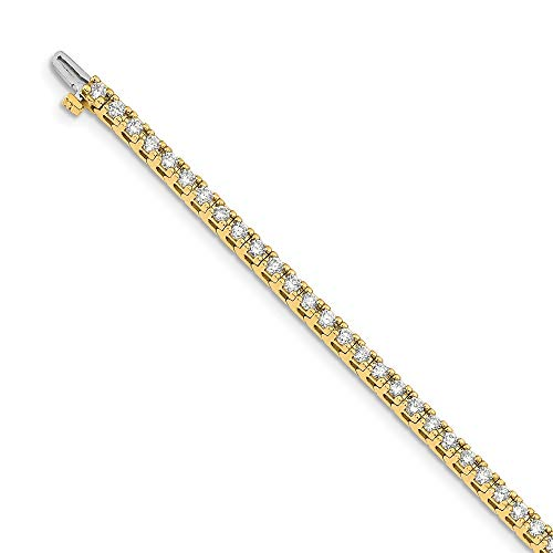 Mia Diamonds Solid 14k Yellow Gold 3.00ctw. Near Colorless Moissanite 4 Prong Tennis Bracelet