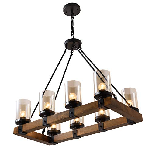 8-Light Wood Kitchen Chandelier Pendant Island Light Fixtures Black(Bulb Not Included)