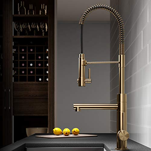 Kraus KPF-1603BG Artec Pro 2-Function Commercial Style Pre-Rinse Kitchen Faucet with Pull-Down Spring Spout and Pot Filler 24.75 Inch Brushed Gold Finish