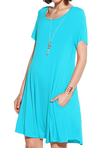 JollieLovin Women's Pockets Casual Swing Loose T-Shirt Dress (Lake Blue, 3X)