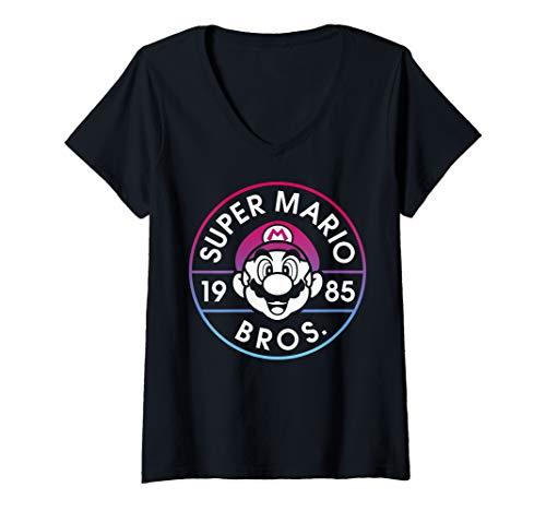 Womens Super Mario Bros 1985 Neon Circle Logo V-Neck -