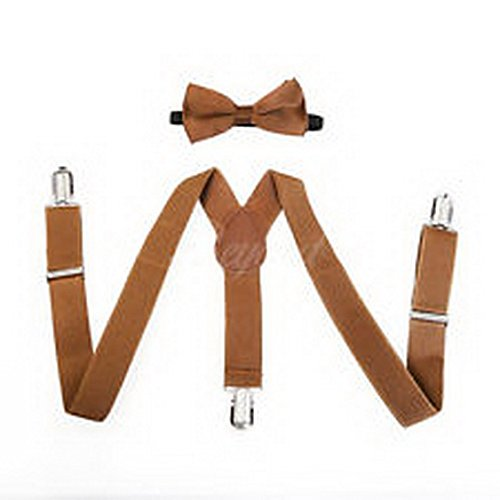 Scott Allah design - Accessories Brown Suspender and Bow Tie Set for Baby Toddler Kids Boys Girls (Batman Toddler Suspenders)